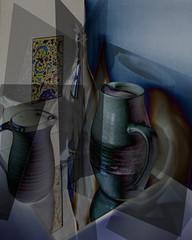 still life Cubist style~~HSS (Wendy:) Tags: stilllife photoshop reflections bottle jug layers cubist odc hss