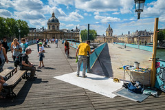 Large Scale Painting In Progress (Serendigity) Tags: city bridge paris france art seine river painting artist workinprogress lovelocks enpleinair