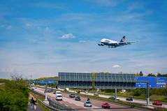 A380 approaching Frankfurt Airport (Leif79) Tags: plane airport nikon highway frankfurt aircraft autobahn airbus a380 a5 lufthansa planespotting d90 zeppelinheim
