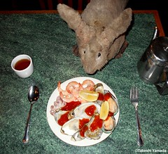 Dr. Takeshi Yamada and Seara (Coney Island sea rabbit) at the Queens Buffet Chinese restaurant in Queens, New York on April 17, 2016. 20160417. DSCN5033==C. raw oysters, baby octopus, cocktail shrimps, mussels (searabbits23) Tags: ny newyork sexy celebrity rabbit art hat fashion animal brooklyn sushi asian coneyisland japanese star restaurant tv google king artist dragon god manhattan famous gothic goth uma ufo pop taxidermy vogue cnn tuxedo bikini tophat unitednations playboy entertainer oddities genius mermaid amc mardigras salvadordali performer unicorn billclinton seamonster billgates aol vangogh curiosities sideshow jeffkoons globalwarming mart magician takashimurakami pablopicasso steampunk damienhirst cryptozoology freakshow seara immortalized takeshiyamada roguetaxidermy searabbit barrackobama ladygaga climategate  manwithrabbit