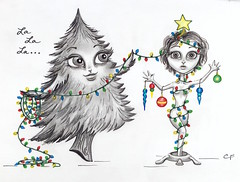 Christmas Tree (Enchanted Fields) Tags: christmas tree pencil season lights holidays december originalart christmastree prismacolor magical decorate graphite enchanted linedrawing whimsical coloredpencil treetrimming inkart falalalala