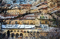 The Cloisters (albyn.davis) Tags: winter snow building architecture arches manipulation layered
