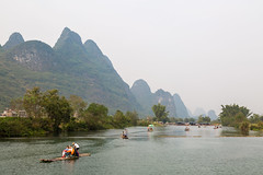 Yulong River (Bridgetony) Tags: china haze asia southeastasia guilin yangshuo karst rafts guanxi asiapacific