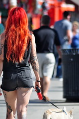 Walk on By (fabian.kron) Tags: california venice usa dog girl la losangeles unitedstates walk redhead garota bunda ruiva estadosunidos tatuada