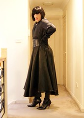 Black Night (4) (Furre Ausse) Tags: black leather belt dress boots skirt blouse gloves satin cincher governess gouvernante