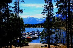 Grand Tetons from Jackson Lake Marina - Grand Tetons National Park, Wyoming (danjdavis) Tags: lake mountains marina boats nationalpark rockymountains wyoming grandtetons grandtetonnationalpark jacksonlake