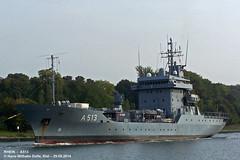 RHEIN - A513 (004-29.09.2014) (HWDKI) Tags: marine ship navy vessel rhein schiff kiel tender nordostseekanal nok deutsche kielcanal bundesmarine mmsi delfs a513 hanswilhelmdelfs 211211500