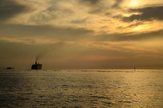 """Paros - """"Smell the sea and feel the sky, let your soul and spirit fly into the mystic""""- Van Morrison (kutruvis nick) Tags: sunset sea sky sun travelling water clouds island greek boat nikon sailing ship smoke hellas greece nik paros aegeansea d5100 kutruvis"""
