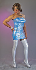 Spotted In Silver & Blue! (kaceycd) Tags: highheels boots s tgirl fishnets pantyhose strapless crossdress spandex lycra lurex tg stilettos kinkyboots minidress platformboots stilettoboots fishnethose sexyboots tubedress stockingboots
