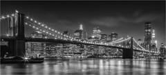 Twinkle, Twinkle, Brooklyn Bridge - New York City (~ Floydian ~ ) Tags: new york city nyc newyorkcity longexposure bridge light sunset blackandwhite bw usa skyline brooklyn america canon wow river stars photography lights star evening town blackwhite twilight cityscape skyscrapers unitedstates dusk manhattan twinkle brooklynbridge twinkling floydian canoneos1dsmarkiii henkmeijer