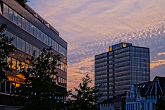 ([gegendasgrau]) Tags: city trees windows light sunset sky urban sunlight house building tree nature architecture clouds licht essen fenster natur himmel wolken haus atmosphere roofs stadt architektur bume spiegelung baum gebude ambiance 2014 dcher atmo gfkl