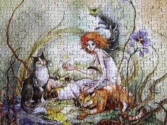 Queen of the Cats (Stephanie Pui-Mun Law) - detail view (Leonisha) Tags: cats cat puzzle katzen jigsawpuzzle