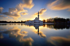 The Mirror [explored] (fiz_zero) Tags: sunset wallpaper sky sun reflection nature beautiful architecture clouds sunrise landscape island nikon asia background minaret awesome muslim landmark mosque explore malaysia terengganu kualaterengganu kualaibai nikon1635mmf4vr nisind1000 nisifilter nikond750 nisimalaysia