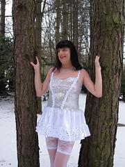Future (Paula Satijn) Tags: trees winter white snow hot cold sexy stockings girl forest shiny silk skirt tgirl transvestite satin miniskirt gurl