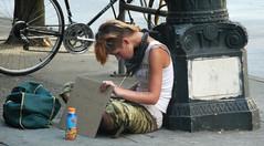 travelling broke (D G H) Tags: seattle street summer woman girl downtown sidewalk panhandler daveheston