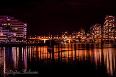 Cambie Bridge (Syd Rahman) Tags: new travel light canada night vancouver lowlight nikon downtown bc outdoor iso falsecreek rahman dslr today followme sydur downtownvancouver cambiebridge brithishcolumbia d7000 nikond7000 sydurrahman