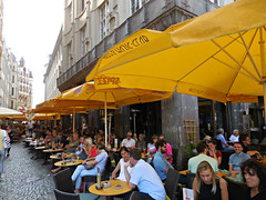 Leipzig, Germany (kenjet) Tags: street coffee yellow cake germany restaurant alley afternoon eating relaxing kaffee leipzig sidewalk kuchen