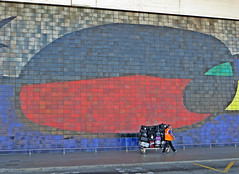 BarcelonaEl Prat Airport. Barcelona, Spain. November 2015 (Vadiroma) Tags: barcelona city travel building wall painting airport spain europe catalonia luggage trunk catalunya bags loader baggage employee suitcases elprat 2015 baggageman