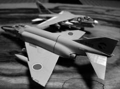 F-4EJ  II & LTV A-7A  II  (jun.skywalker (enishi hand made cyclecap)) Tags: bw canon   s95 f4ejii ltva7aii