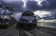 NPU 90340 Leads (Tony Tomlin) Tags: ocean railroad sea beach clouds amtrak cascades whiterock whiterockbc npu whiterockbeach amtraknpu90340