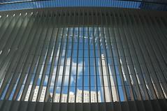 Skyline through the Oculus (Takhte-Sarah) Tags: newyorkcity blackandwhite newyork architecture path manhattan worldtradecenter oculus santiagocalatrava freedomtower newyorkarchitecture 1worldtradecenter