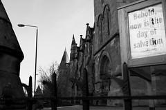 Church of St Judes (Free Presbyterian Church), Glasgow (David_Leicafan) Tags: reflection church sign glasgow gargoyles salvation frenchgothic 28mmelmaritv4 johnburnetsr