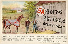5A Horse Blankets Are Great for Wear (Alan Mays) Tags: old red horses brown ny newyork men green philadelphia animals vintage ads paper advertising square typography farmers pennsylvania antique circles illustrations horsemen wear ephemera pa waterloo postcards type blankets ayres advertisements fonts printed logos borders 1908 1900s companies typefaces manufacturers 5a dealers mottos brophy advertisingpostcards williamayres horseblankets laprobes 5ahorseblankets biasgirth wmayressons wmayres rjbrophy greatforwear