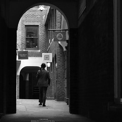 2016-03-05: Well Court (psyxjaw) Tags: city man london hat umbrella quiet weekend walk empty saturday tie suit bowlerhat worker recreation past reenactment cityoflondon londonist