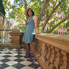 Without The Cardigan (justplainrachel) Tags: brown selfportrait green tv rachel highheels phone dress cd sydney tights polkadots remote timer crossdresser iphone selfie justplainrachel