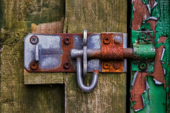 Gate Bolt (Darren Caiels) Tags: wood old urban abstract art texture metal closeup rust gate peeling paint outdoor lock grunge grain rusty gritty aurora bolt latch intensify