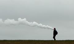 Smoker (offroadsound) Tags: chimney dam smoke smoker stroll bremerhaven chimenea deich