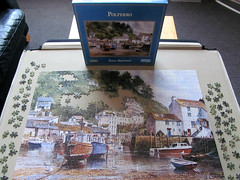 Polperro (pefkosmad) Tags: uk houses england painting boats cornwall harbour hobby puzzle unfinished leisure jigsaw gibson polperro pastime terryharrison