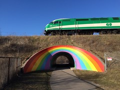 GO Train crosses the Rainbow Tunnel (Sean_Marshall) Tags: toronto tunnel northyork gotransit
