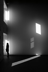 (cherco) Tags: light shadow blackandwhite woman blancoynegro luz window girl lines silhouette composition alone sombra ventanas lonely silueta solitary reflexions solitario backlighting composicion