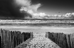 Untitled (miguel_lorente) Tags: street city sea blackandwhite bw white black holland beach water netherlands weather clouds coast sand path battle zandvoort