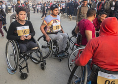 Ramesh lines up at the start of the 3km wheelchair race (Handicap International UK) Tags: nepal earthquake kathmandu survivors disability