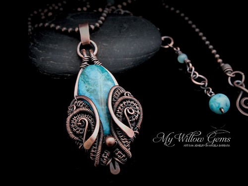 Wire Wrapped Blue Crazy Lace Agate Necklace - Aquamarine