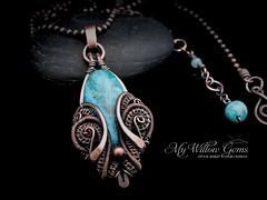 Wire Wrapped Blue Crazy Lace Agate Necklace - Aquamarine (MyWillowGems) Tags: blue agate necklace rustic victorian jewelry copper wirework giftideas handmadejewelry artisanjewelry wirewrappedjewelry wirewrappedagate angelabarbara