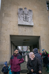 Nazi eagle, Arab immigrants. Tempelhof, March 2016. (joelschalit) Tags: berlin germany airport refugee thirdreich nazi protest hijab demonstration arab fascism immigration tempelhof migrants asylumseeker tempelhofschöneberg nazieagle