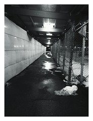 Sometimes we are on an undesirable path. And sometimes it's the only way to get to where you want to be. (j-d3100) Tags: blackandwhite construction tunnel paths projects confined publichousing