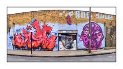 Graffiti (Cave, Kazz), East London, England. (Joseph O'Malley64) Tags: uk greatbritain england streetart london tarmac wall concrete graffiti mural paint britain planters spray workshop british cave signpost walls cans aerosol telephonepole kazz brickwork eastend eastlondon sweettooth benslow drainpipes doubledoors permitparking accesscover wallmurals muralists permitholdersonly granitekerbing reinforcedsteellintel
