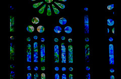 Blue-stained-glass-detail_DSC2916 (Mel Gray) Tags: barcelona blue church catholic cathedral stainedglass gaudi sagradafamilia