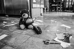 Teddy Bear Crime Scene (backerharrison132) Tags: bear family shadow blackandwhite white house black home girl monochrome animal mystery composition dark paper tile fun toy death grey design frozen kid interesting scary stuffed chair nikon doll dolls mood dof child dress floor angle teddy princess serious seat rip perspective evil indoor scene scissors cotton cupcake crime dresses mysterious murder 1855mm tear stapler scare depth scissor greyscale lightroom d3300