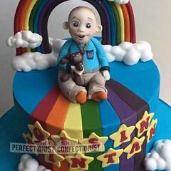 Oisin - Rainbow Christening Cake (PerfectionistConfectionist) Tags: christeningcake rainbowcake baileyscake namingdaycake cakesdublin celebrationcakemalahide noveltycakeswords