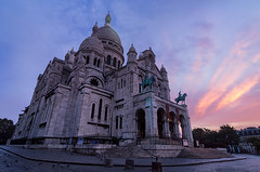 Sacred Heart at sunrise (David Briard) Tags: city morning urban cloud paris france church architecture clouds stairs sunrise french dawn europe european ledefrance cityscape cloudy basilica sacrcoeur nuages paysage eglise lanscape parisian matin leverdesoleil basilique urbain sacredheart escaliers aube traveldestinations frenchculture