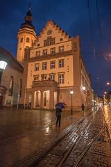 Karlsruhe Durlach Rathaus (Jack Heald) Tags: street travel tourism wet rain night zeiss germany nikon tourist rathaus karlsruhe durlach 21mm milvus jackheald