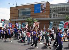"Shall We Sing ""The Internationale""? (Robb Wilson) Tags: losangeles downtownla demonstrators grandavenue freephotos strikingworkers strikingjanitors"