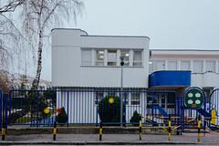 Blue fence (Djordje Ilic) Tags: blue windows building tree fog fence lens nikon zoom overcast d750 fx f4 1635mm