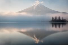 Serenity in the Morning (Yuga Kurita) Tags: lake reflection japan misty fog reflections landscape nikon fuji mt foggy calm mount fujisan serene kawaguchi kawaguchiko fujiyama 2470vr