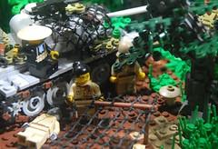 NVA Deep Jungle Outpost: 1971 (LoganLego) Tags: camp village lego pad camo vietnam custom camoflauge vc ak47 nva aks vietcong t55 customlego brickarms camotank legovietnam legot55 citizenbrick camolego padprinted